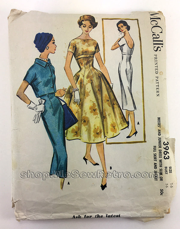 McCalls 3963 1950s Dress Vintage Sewing Pattern