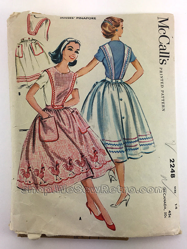 McCalls 2248 1950s Misses Pinafore Vintage Sewing Pattern