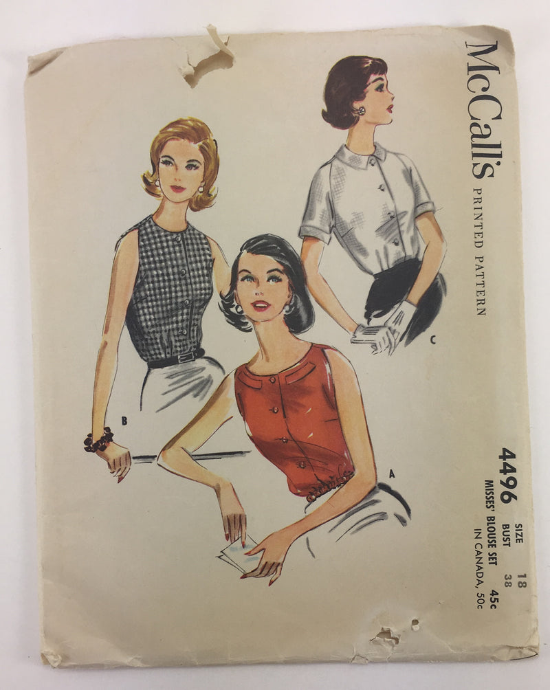 McCalls 4496 1950s Blouse Vintage Sewing Pattern