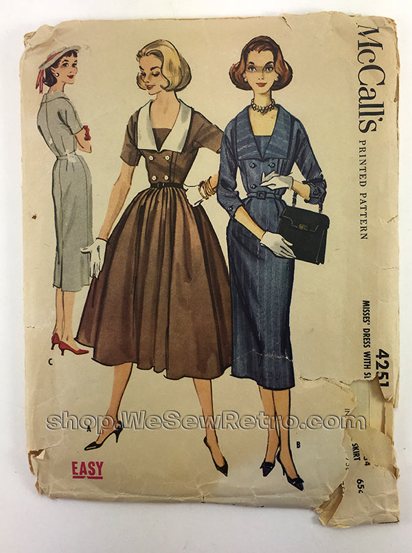 McCalls 4251 1950s Double Breasted Dress Vintage Sewing Pattern