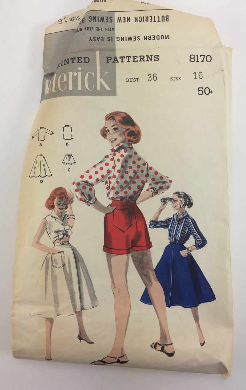 Butterick 8170 1950s Separates Vintage Sewing Pattern