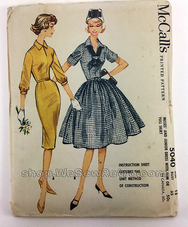 McCalls 5040 1950s Dress Vintage Sewing Pattern
