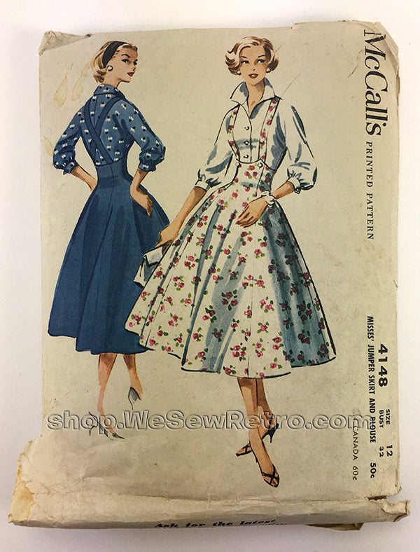 McCalls 4148 1950s Suspender Dress Vintage Sewing Pattern