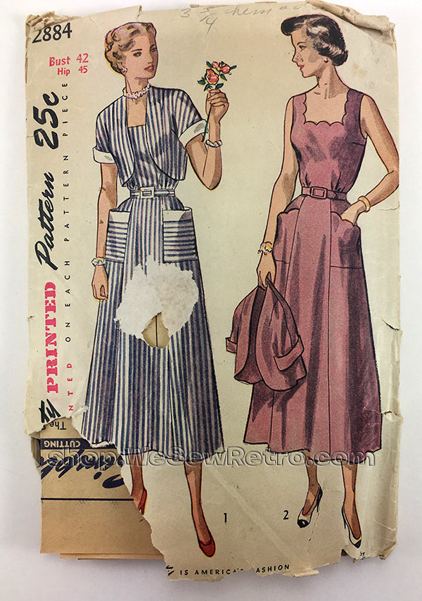 Simplicity 2884 1940s Dress and Bolero Vintage Sewing Pattern - 42 Bust