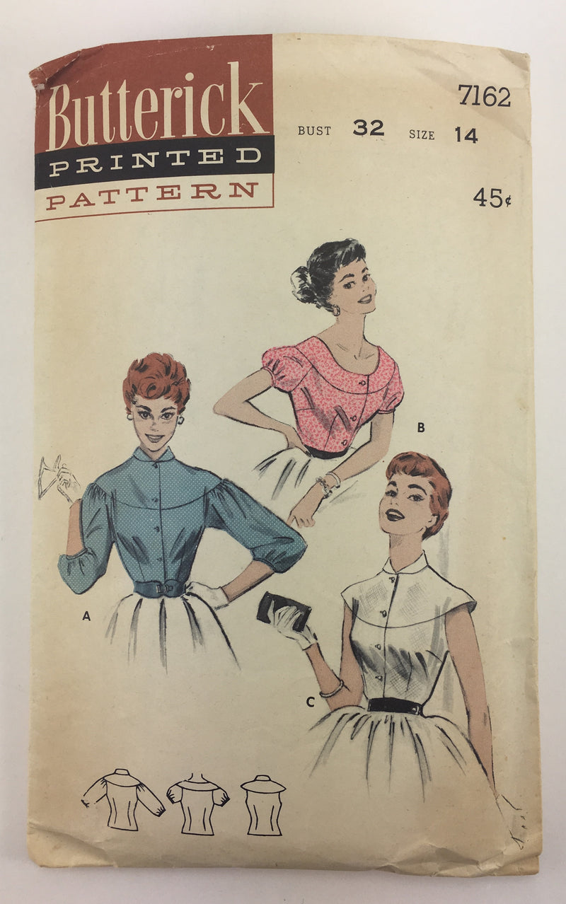 Butterick 7162 1950s Blouse Vintage Sewing Pattern