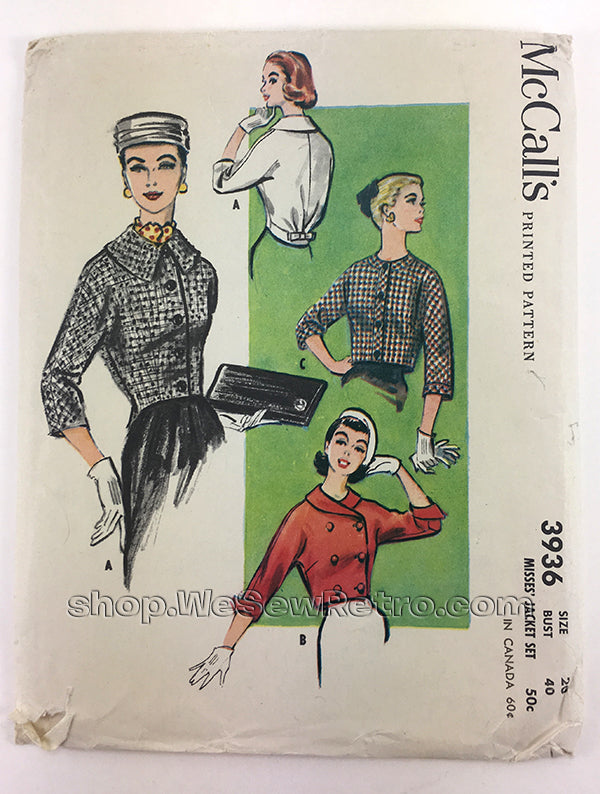 "McCalls 3936 1950s Jackets Vintage Sewing Pattern - 40"" Bust"