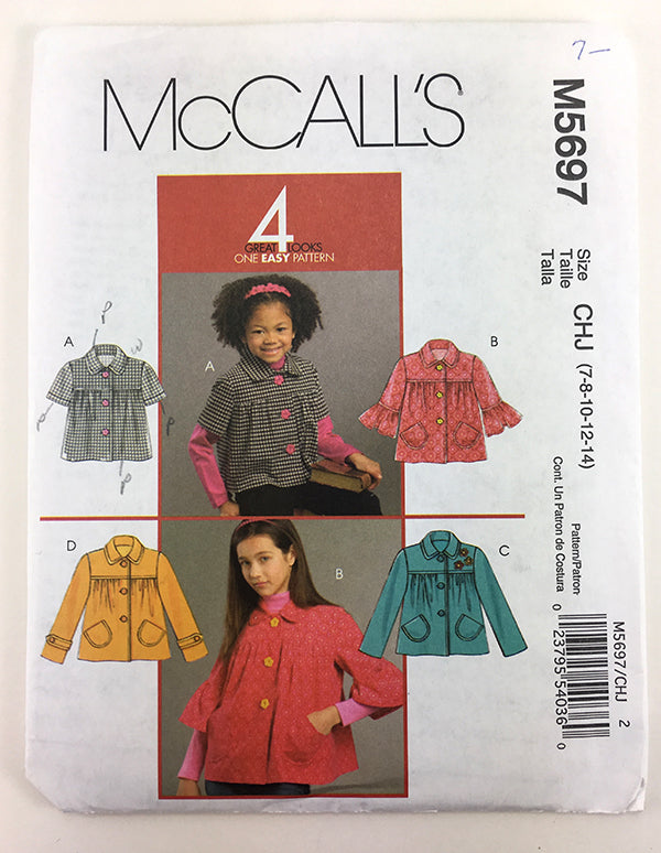 McCalls 5697 Girls Jacket Sewing Pattern