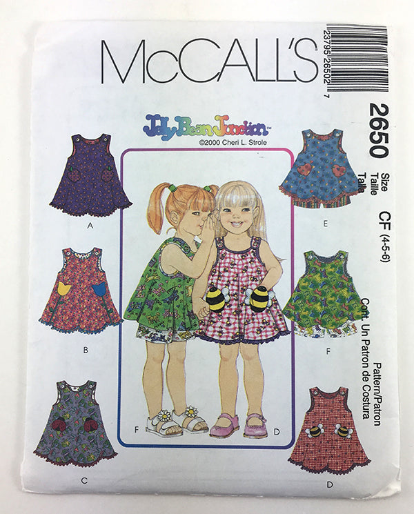 McCalls 2650 Girls Dress and Shorts Sewing Pattern with animal pockets