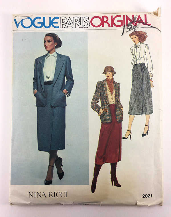 Nina Ricci Vogue Paris Original 2021 1980s Designer Separates Vintage Sewing Pattern