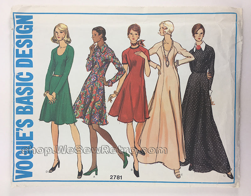 Vogue 2781 1970s Knit Dress Vintage Sewing Pattern
