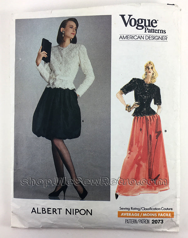 Albert Nippon Vogue American Designer 2073 1980s Dress Vintage Sewing Pattern