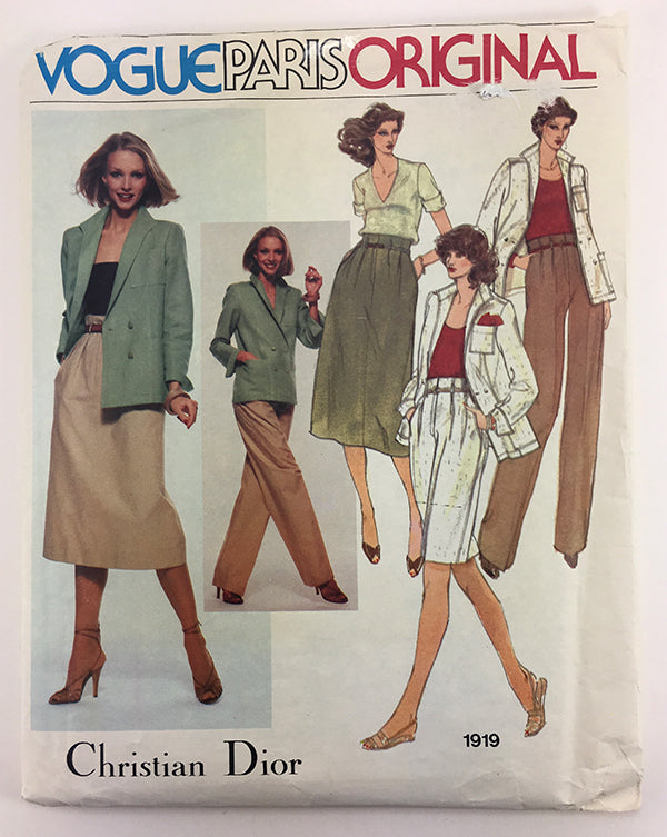 Christian Dior Vogue Paris Original 1919 1980s Designer Separates Vintage Sewing Pattern