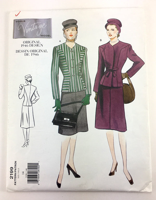 Vogue 2199 1940s Vintage Skirt and Jacket - Vintage Vogue Sewing Pattern V2199