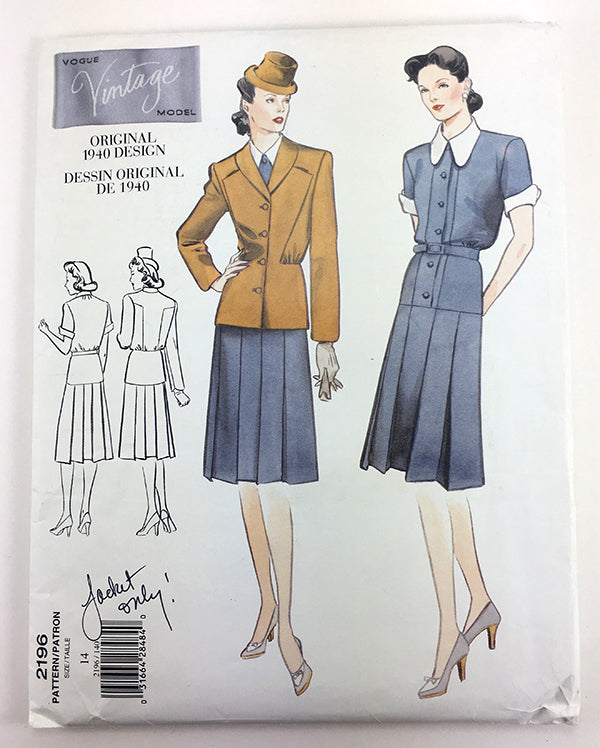 Vogue 2196 1940s Vintage Dress and Jacket - Vintage Vogue Sewing Pattern V2196