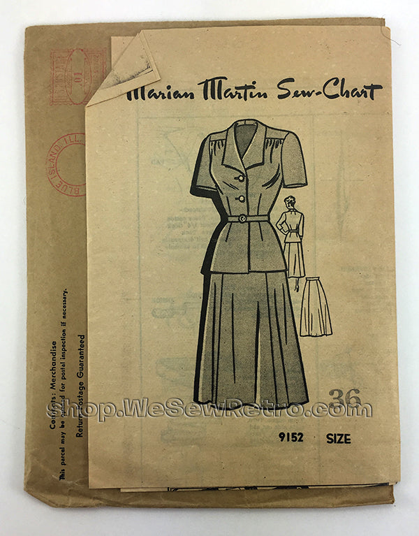 Marian Martin 9152 1940s Two Piece Dress Vintage Sewing Pattern
