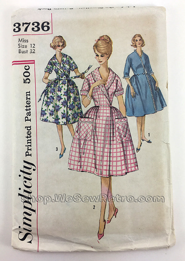 Simplicity 3736 1960s Brunch Coat and Housedress Vintage Sewing Pattern