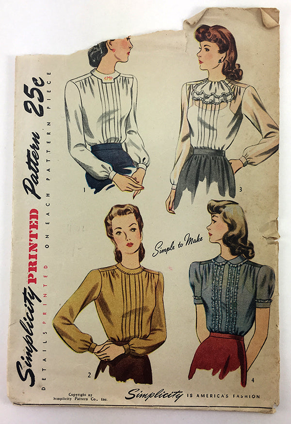 Simplicity 2340 1940s Blouse Vintage Sewing Pattern