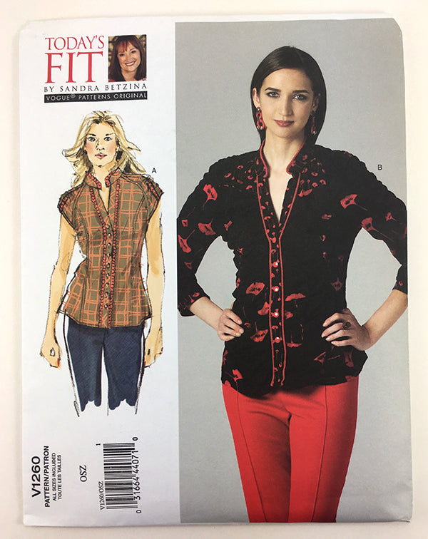 Vogue 1260 Sandra Betzina Shirred Blouse Sewing Pattern V1260