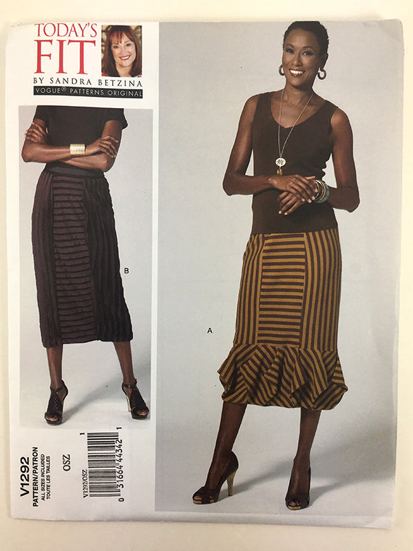 Vogue V1292 Sandra Betzina Origami Border Skirt Sewing Pattern