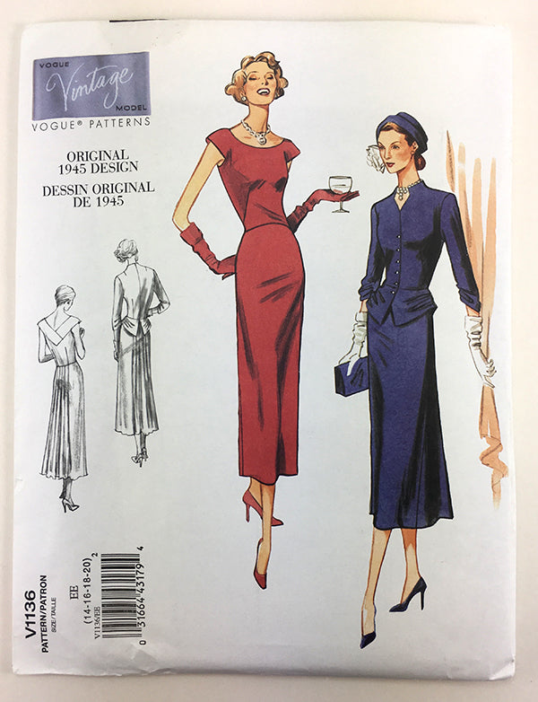 Vogue 1136 1940s Vintage Dress - Vintage Vogue Sewing Pattern V1136