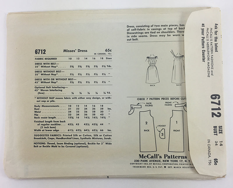 McCalls 6712 1960s Dress Vintage Sewing Pattern