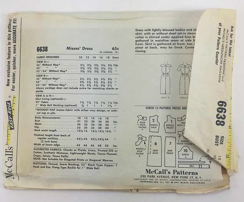 McCalls 6638 1960s Dress Vintage Sewing Pattern
