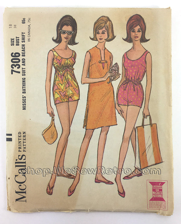 McCalls 7306 1960s Bathing Suit and Beach Coverup Vintage Sewing Pattern