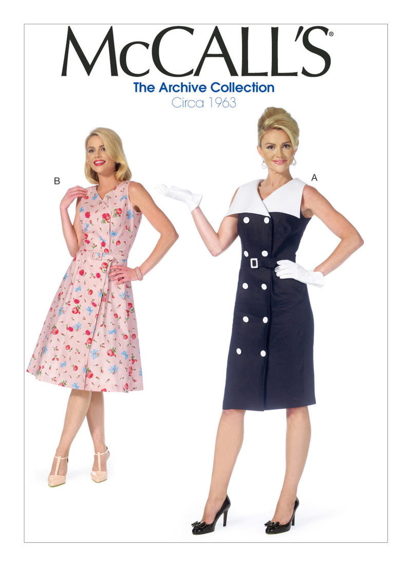 M7087 1960s Double Breasted Dress Sewing Pattern - McCalls 7087 Dress Sewing Pattern