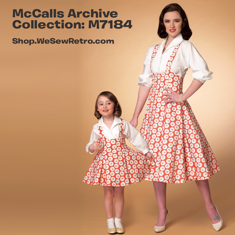 M7184 Mommy & Me 1950s Dress Pattern - McCalls 7184 Sewing Pattern