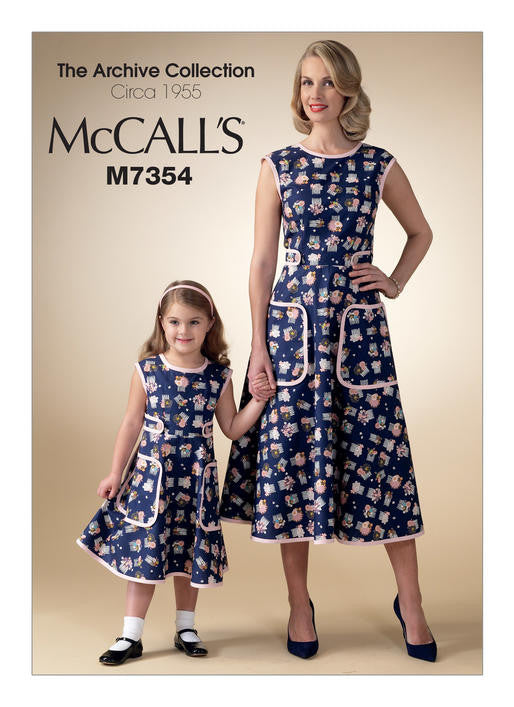 M7354 Mommy & Me 1950s Back Wrap Dress Pattern - McCalls 7354 Sewing Pattern