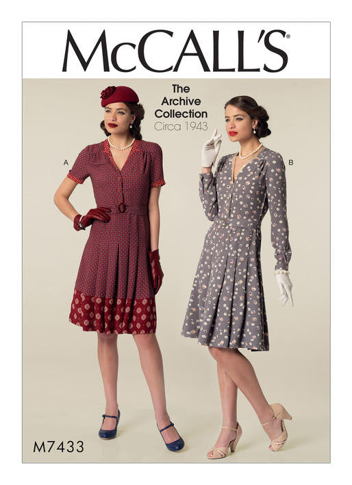 M7433 McCalls 7433 1940s Vintage Dress Sewing Pattern - McCall's Archive Collection