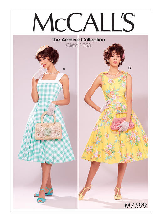 M7599 McCalls 7599 1950s Vintage Dress Sewing Pattern - McCall's Archive Collection