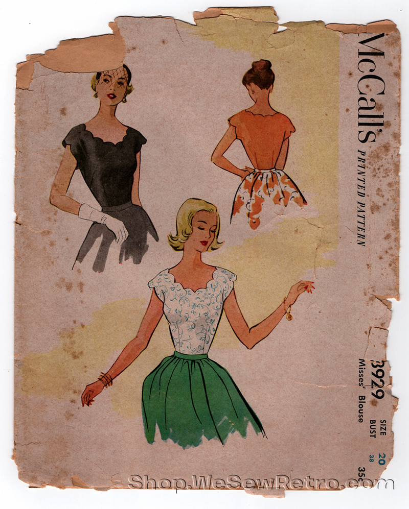 McCall 8929 Vintage Pattern - 1950s Scalloped Blouse Sewing Pattern