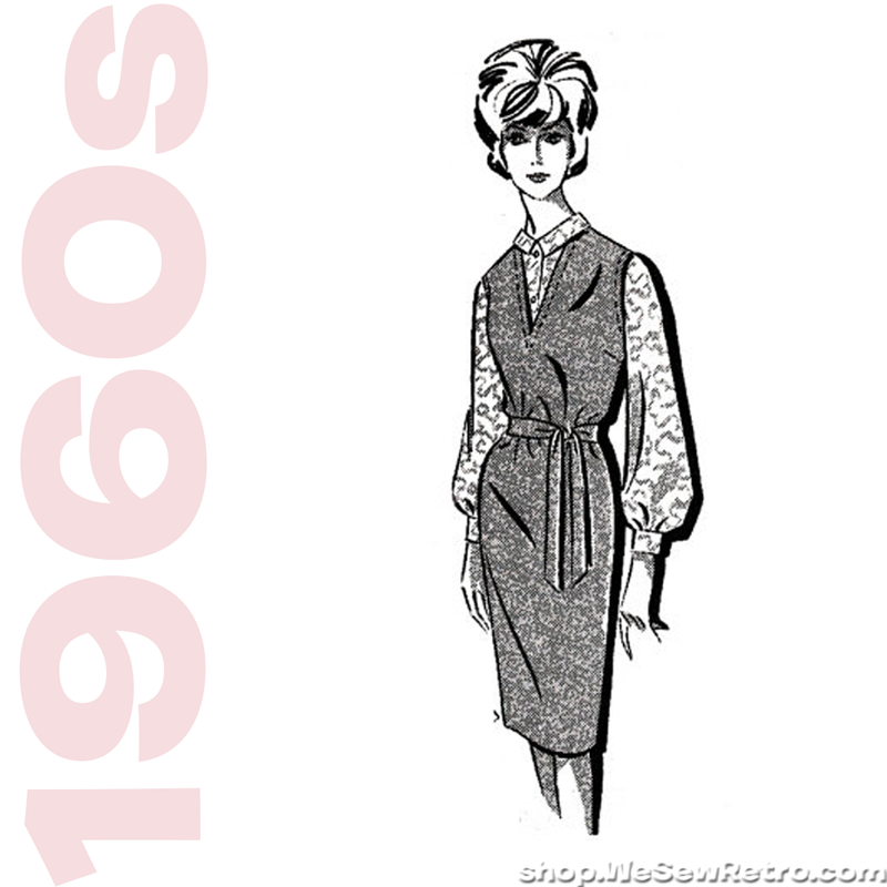 1960s Vintage Jumper Pattern - Mail Order 1427 - Belted Jumper and Blouse