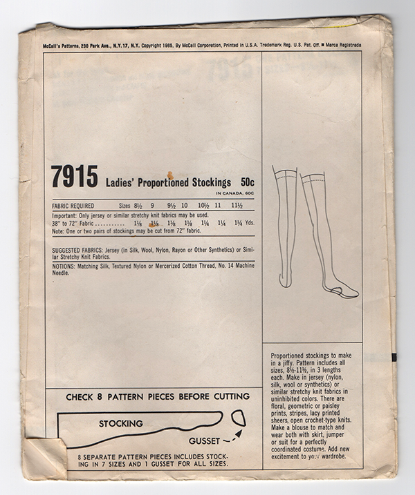 McCall's 7915 Vintage Stockings Sewing Pattern