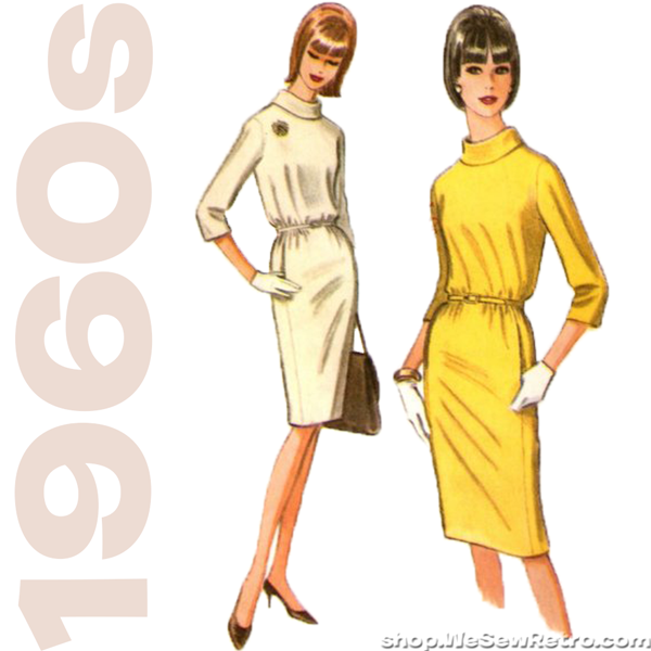 1960s Vintage Pattern. Bill Blass Designer Dress Sewing Pattern. McCall's 8051.