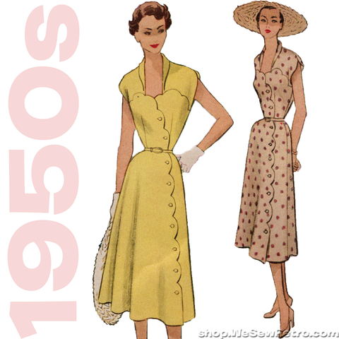 1950s Scalloped Dress Vintage Sewing Pattern - McCall's 8785