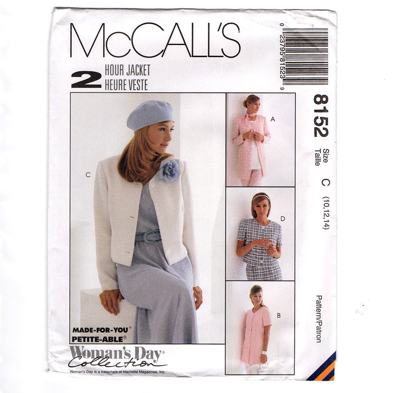 McCall's 8152 Misses Unlined Jacket Sewing Pattern Out of Print