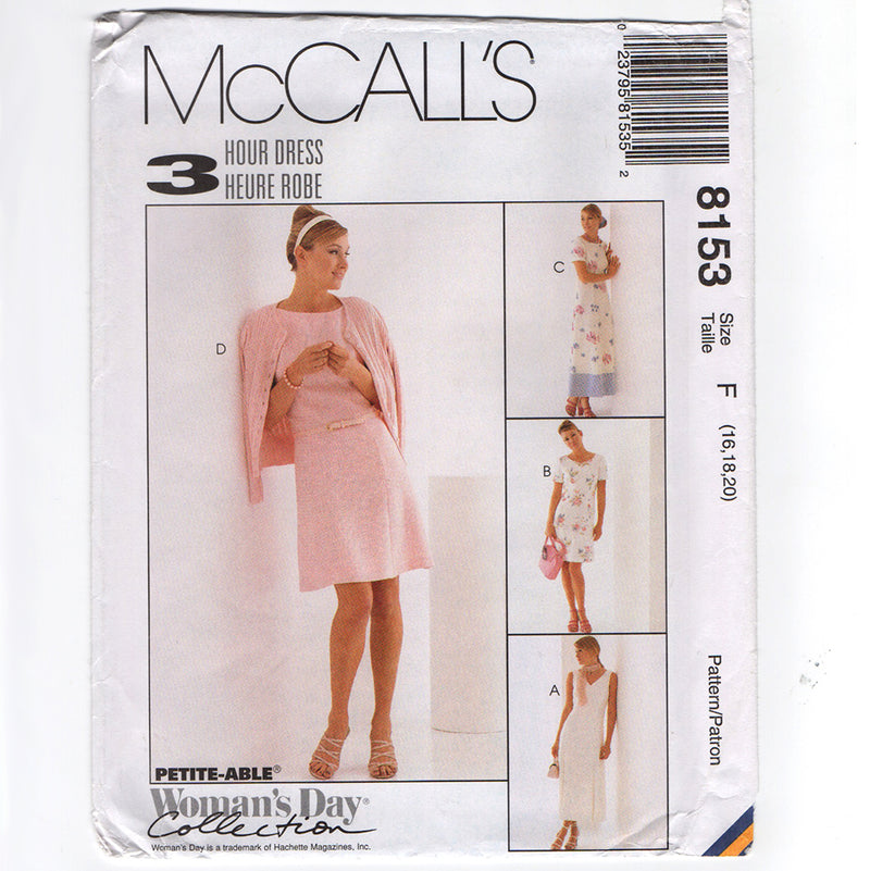 McCall's 8153 Misses Fit and Flare Dress 1990s Sewing Pattern Out of Print
