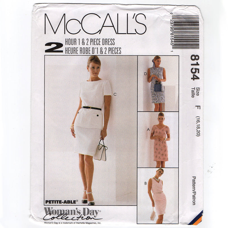 McCall's 8154 Misses Fitted Dress or Top 1990s Sewing Pattern Out of Print