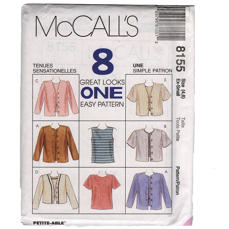 McCall's 8155 Misses Tops and Jacket Sewing Pattern Out of Print