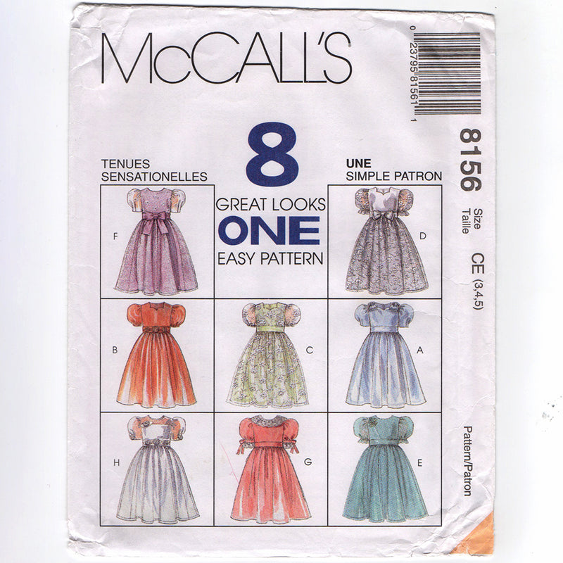 McCall's 8156 Girls Party Dress Sewing Pattern