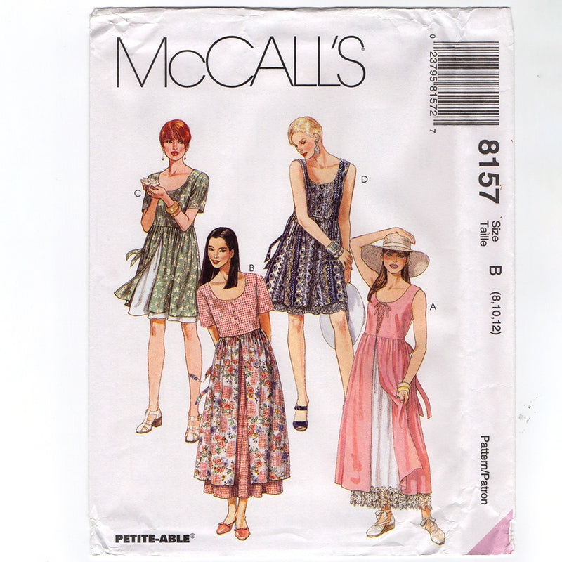McCall's 8157 Misses Dress 1990s Sewing Pattern