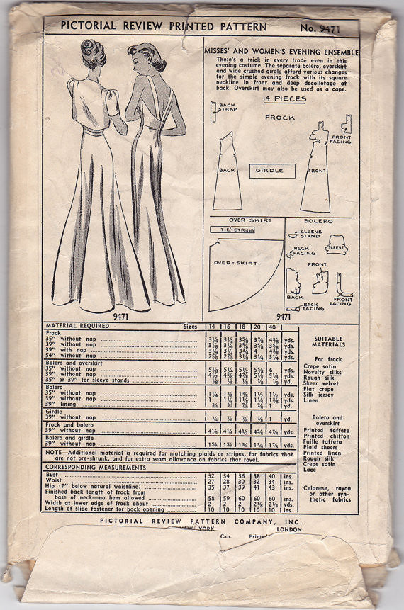 "Pictorial Review 9471 - 1930s Dress Vintage Sewing Pattern - 40"" Bust"