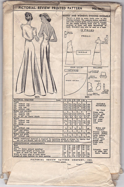 1930s 40 Quot Bust Dress Vintage Sewing Pattern Pictorial