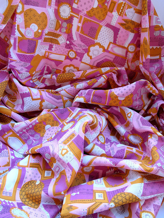 Nearly 4 Yards Vintage Pink Crepe Fabric - Vintage Fabric Yardage - Pink and Orange Fabric