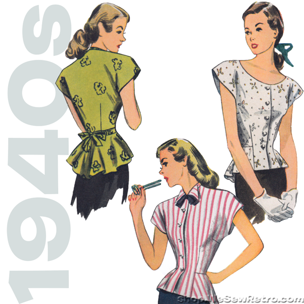 Simplicity 1590 1940s Vintage Blouse Sewing Pattern