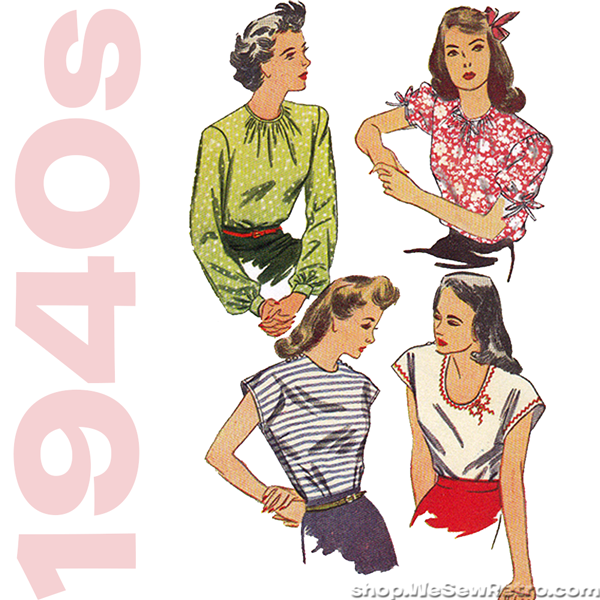 Simplicity 1692. 1940s Vintage Reproduction Pattern. Women's Blouse Sewing Pattern.