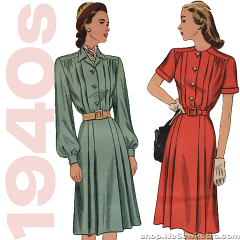1940s Vintage Pattern - Pleated Dress - Simplicity 1719