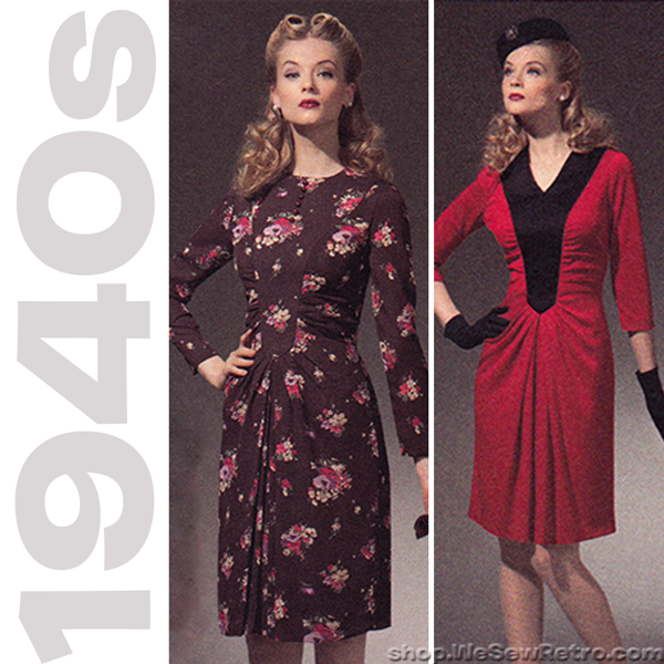 1940s Repro Vintage Sewing Pattern: Ruched Dress. Simplicity 1777